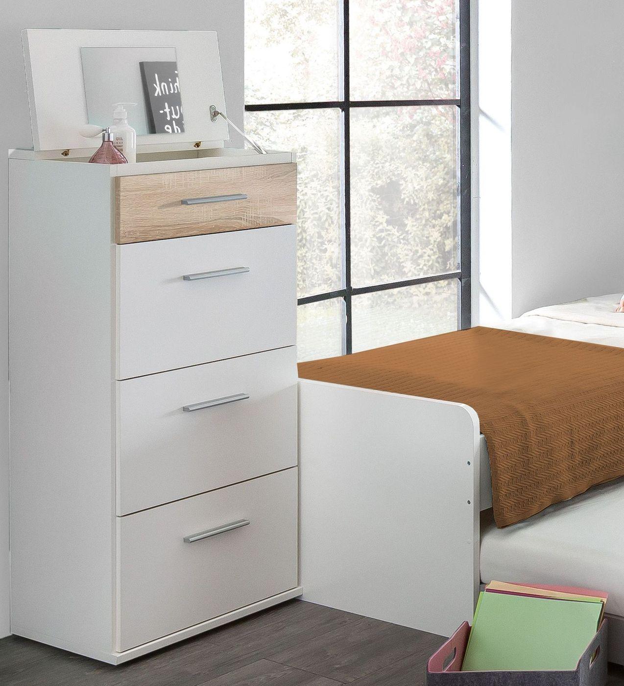 schmale schubladenkommode mit spiegel zum aufklappen solero. Black Bedroom Furniture Sets. Home Design Ideas