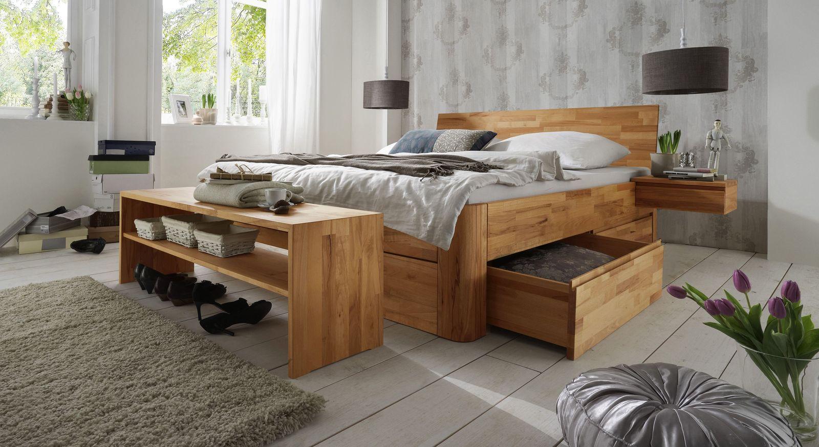 Holzbett Zarbo mit 2 Schubkasten jeweils zur Hälfte