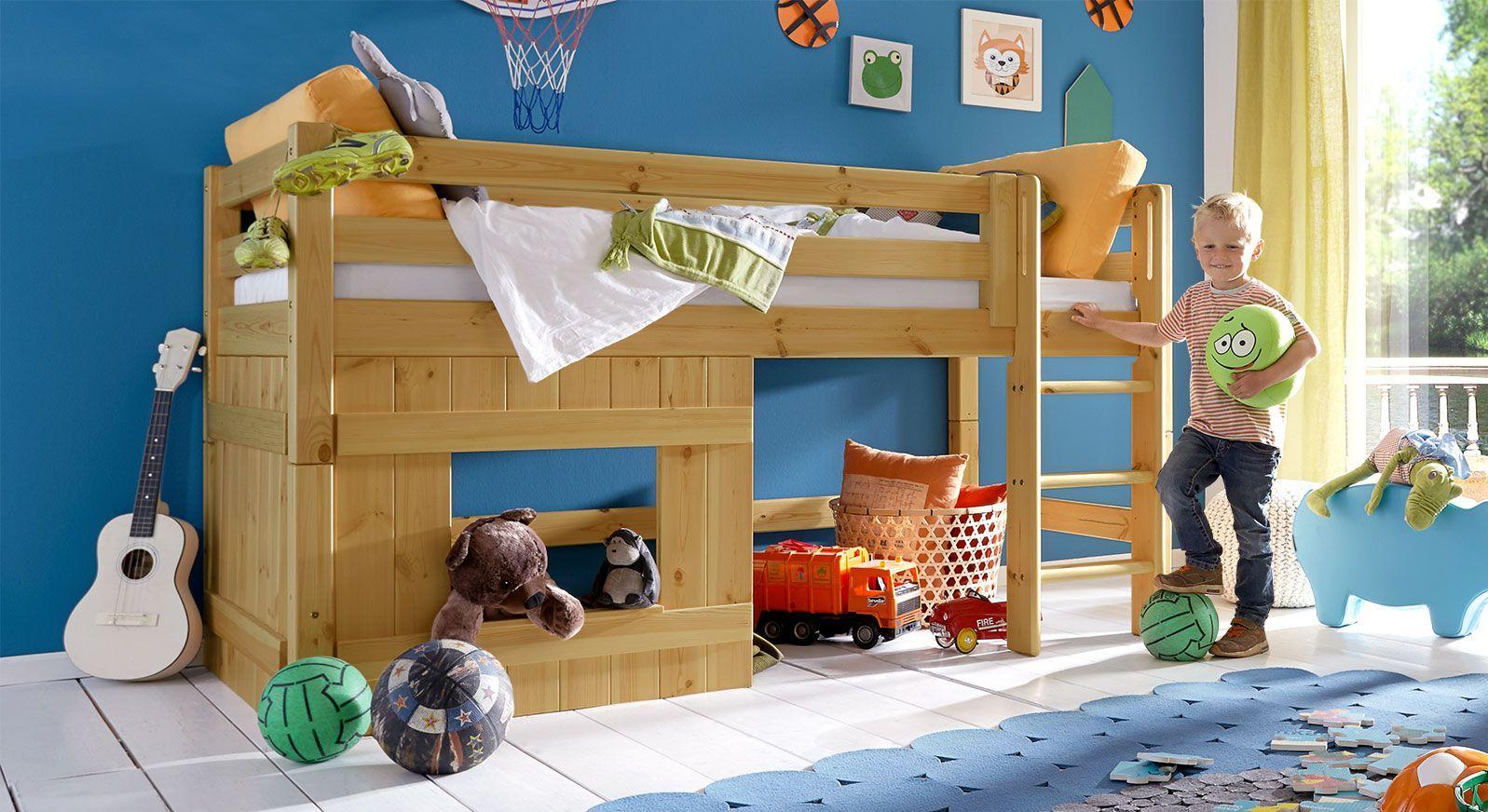 Kinder-Hütten-Hochbett Kids Paradise für Jungen in Kiefer, gelaugt