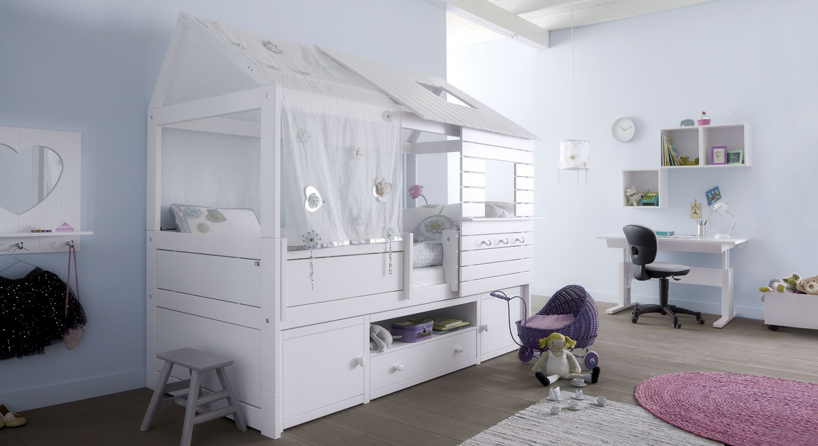 LIFETIME Hütten-Kojenbett Sternenglanz mit praktischem Stauraum