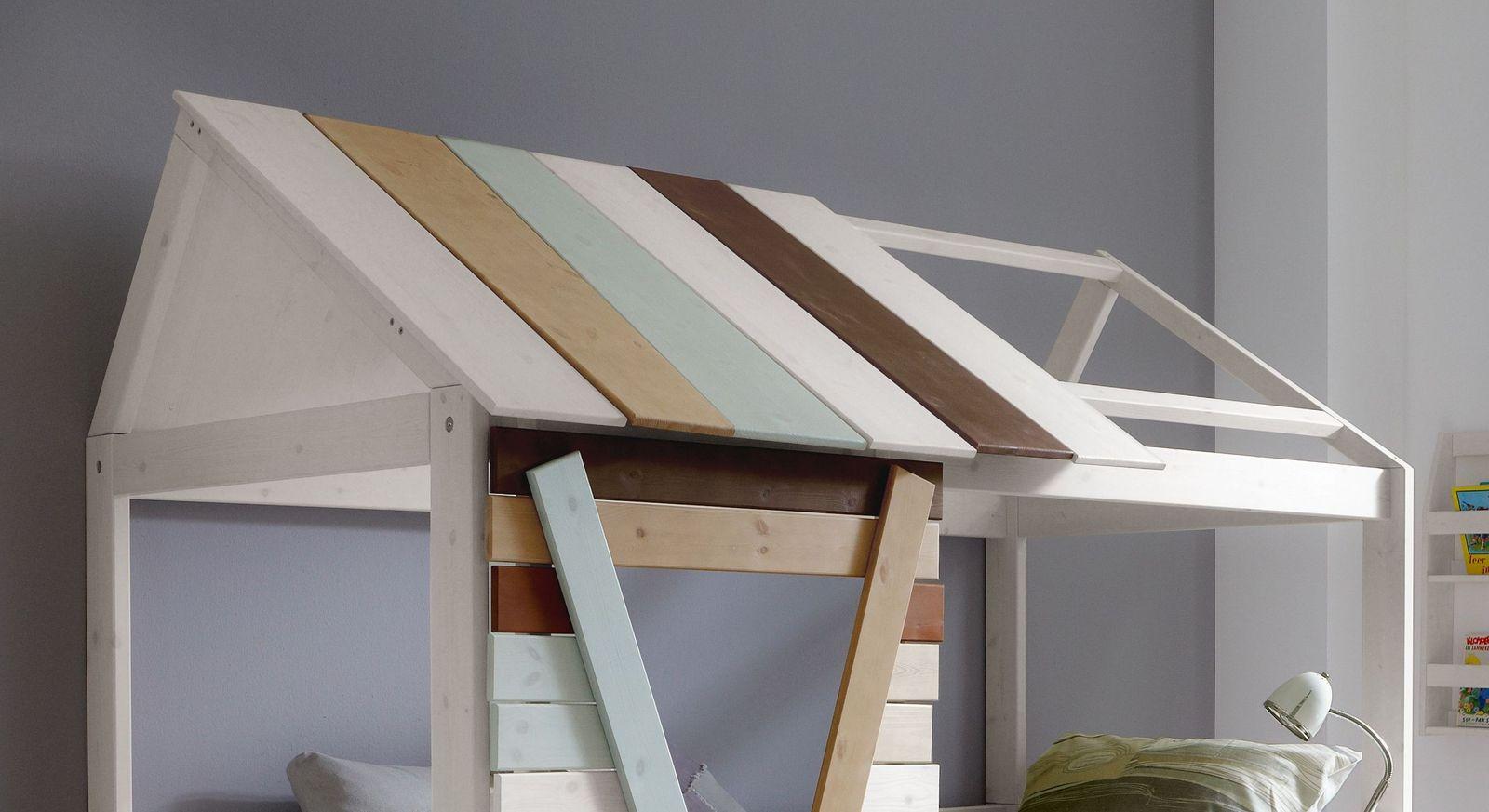 LIFETIME Hütten-Kojenbett Survival inklusive Dachkonstruktion mit farbigen Dachlatten