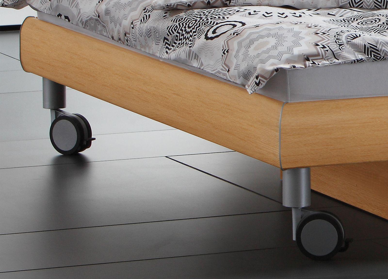 Doppelbett in Holzdekor mit Rollen - Antia | BETTEN.de