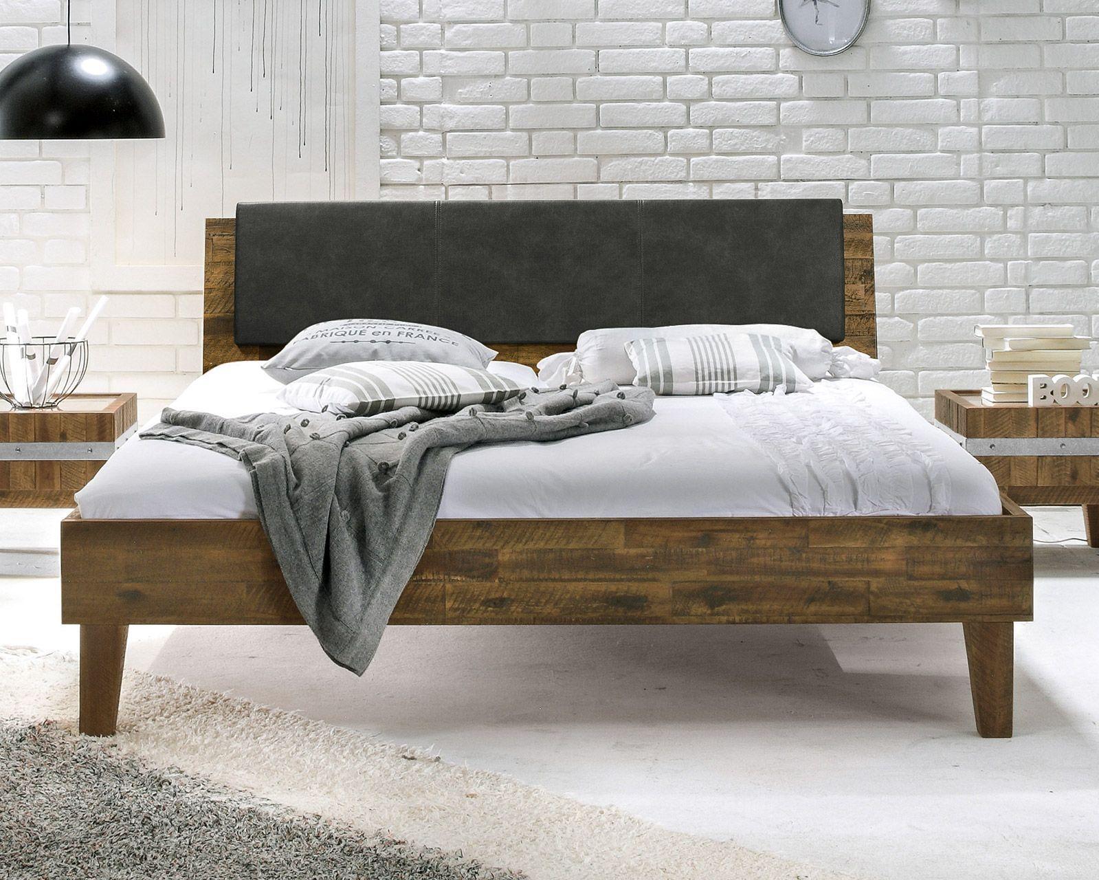 Doppelbett im Industrielook aus Akazie - Paraiso