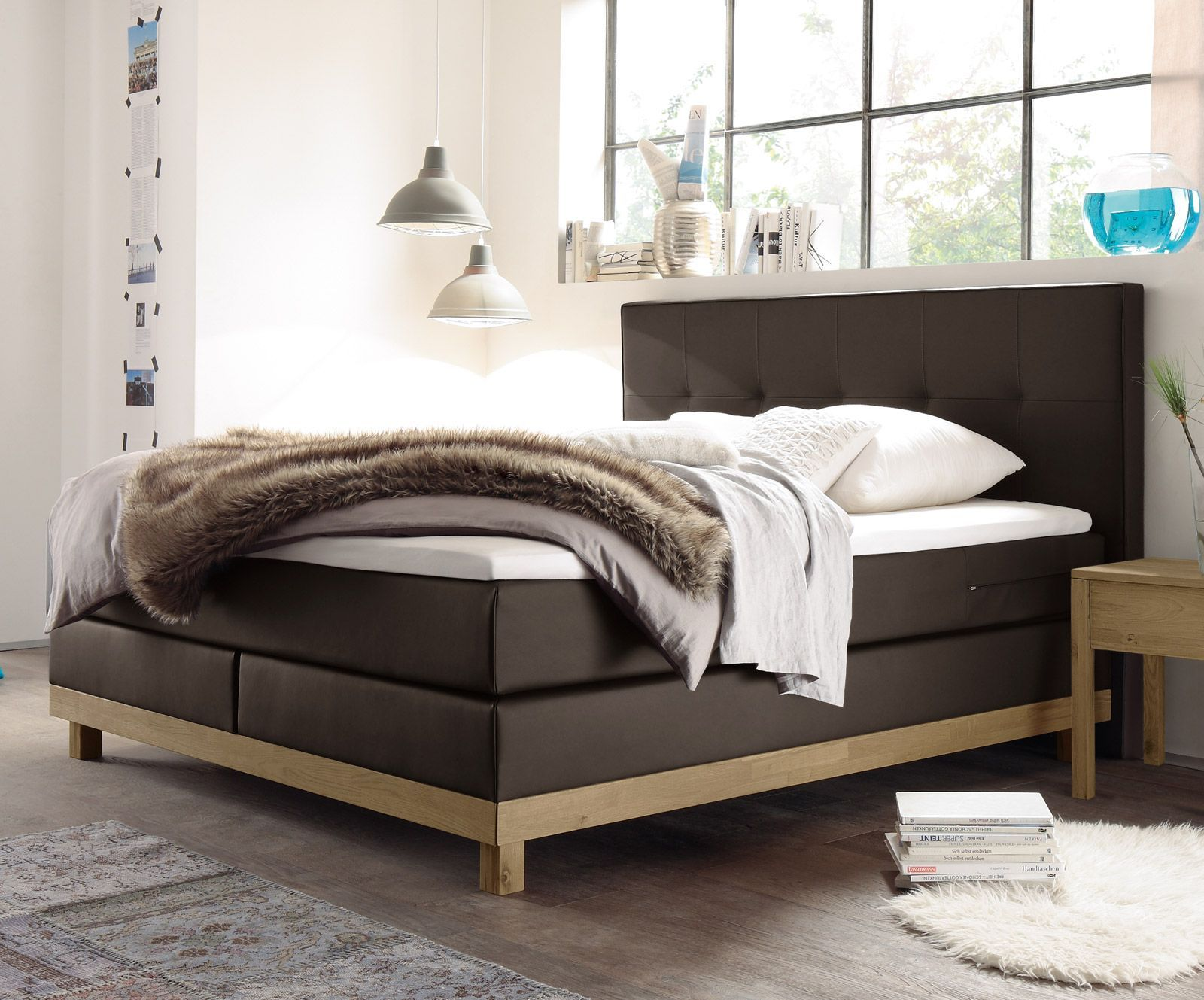boxspringbett in eiche und kunstleder schnell lieferbar diori. Black Bedroom Furniture Sets. Home Design Ideas