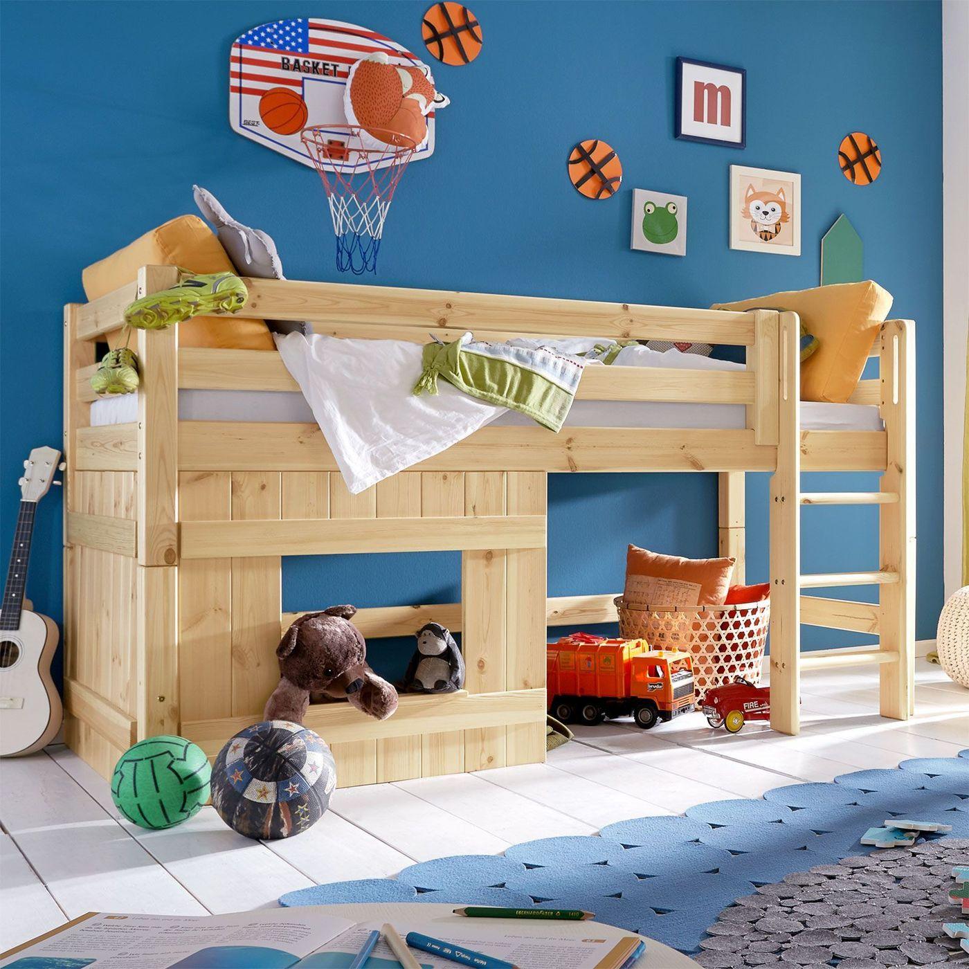 betten fur kleine jungs, halbhohes hütten-hochbett für jungen - kids paradise, Design ideen