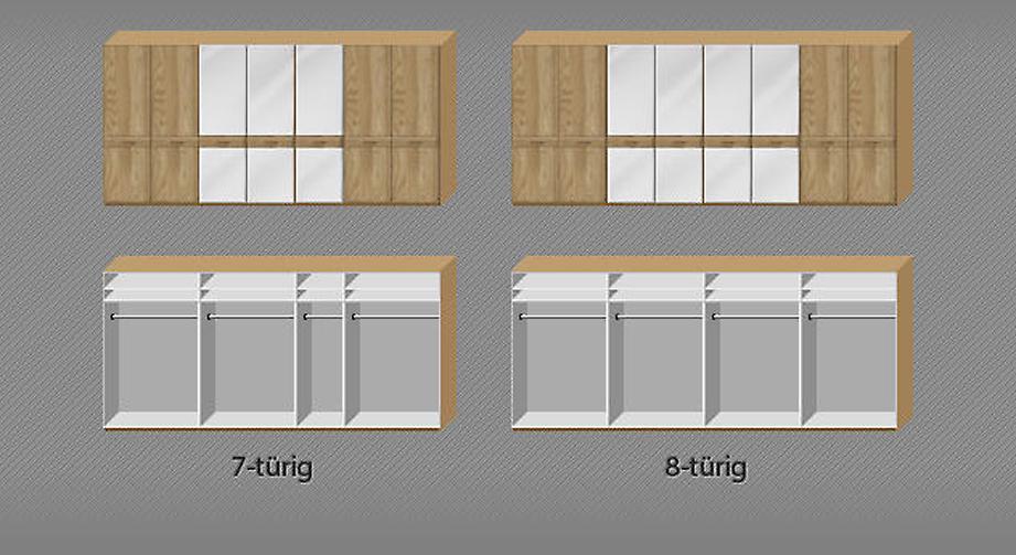 Inneneinteilung und Aufteilung der breiten Drehtüren-Kleiderschränke Agaro