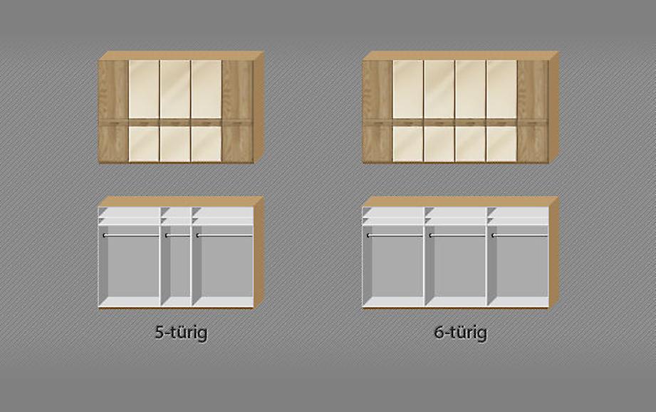 Inneneinteilung der 5-6-türigen Drehtüren-Kleiderschränke Taras