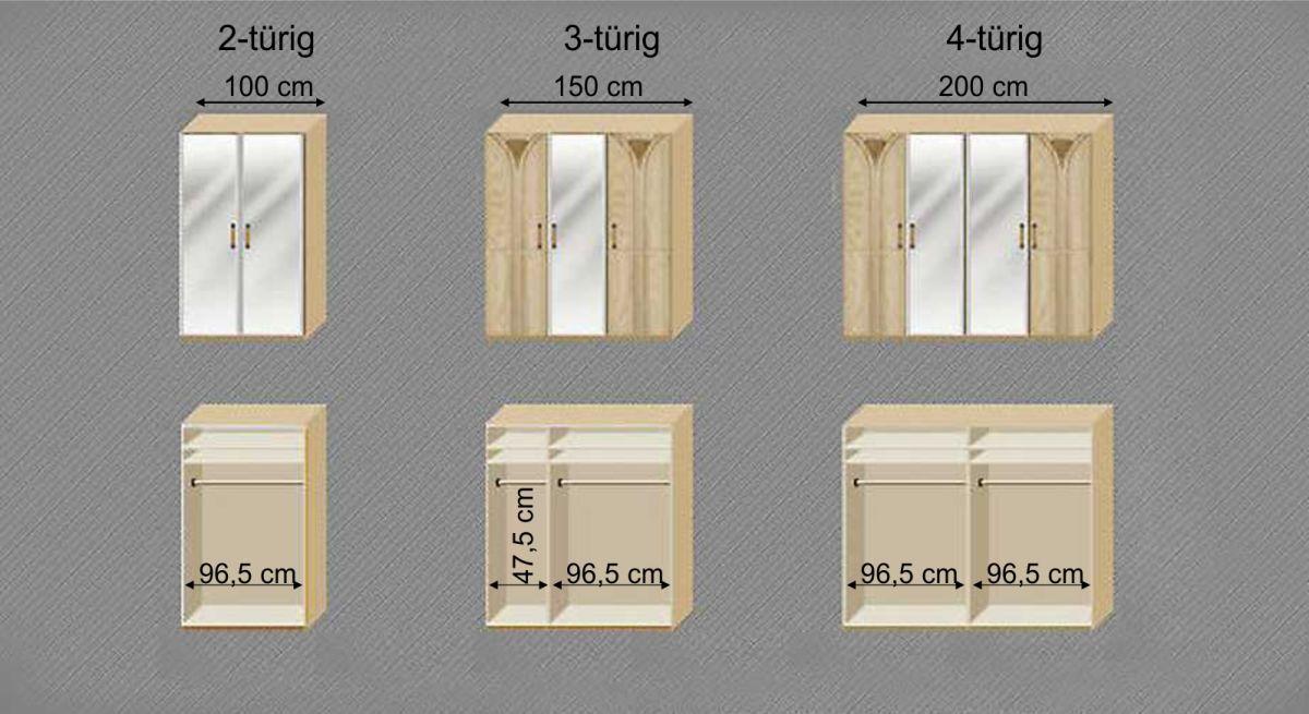 Grafik zur Inneneinteilung des Drehtüren-Kleiderschranks Karia