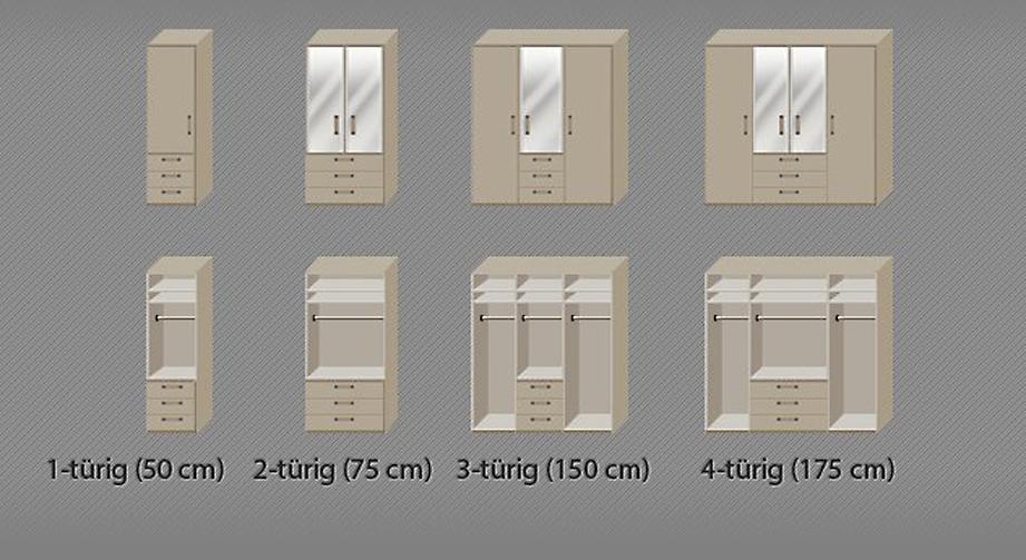 Praktische Inneneinteilungs-Grafik vom Funktions-Kleiderschrank Rapino