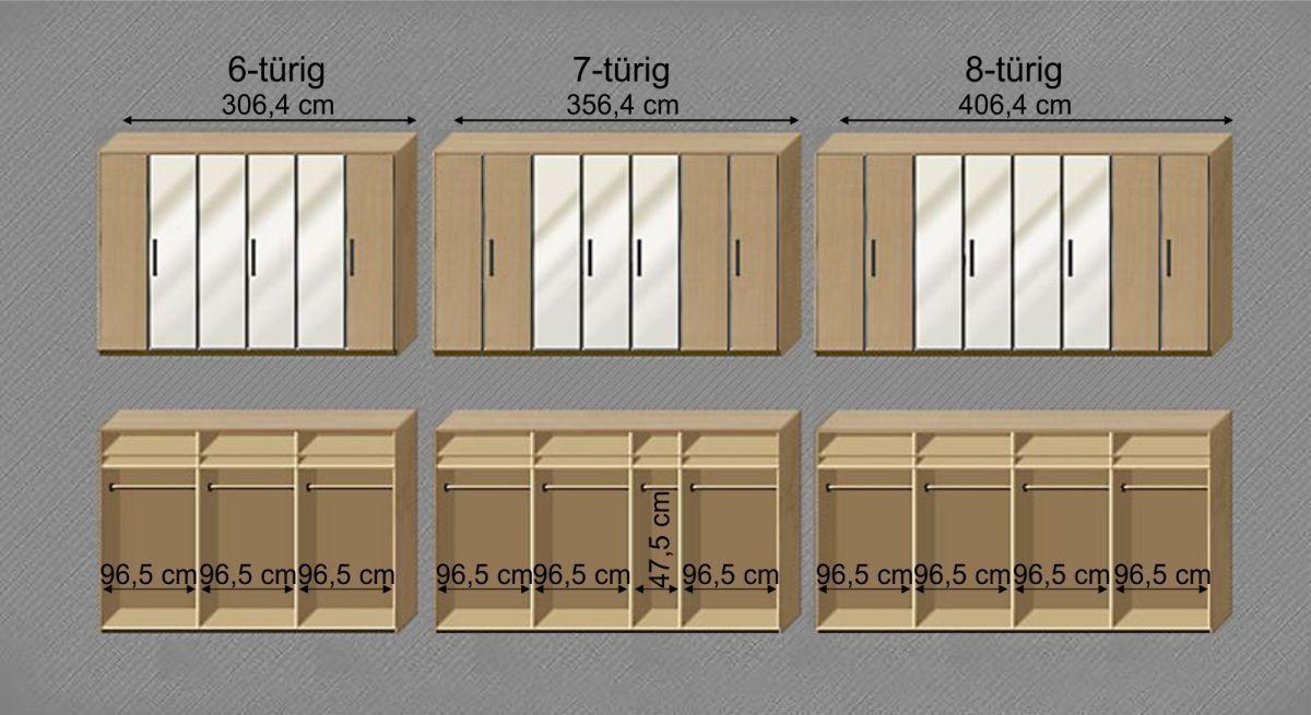 Maßgrafik zur Inneneinteilung des Kleiderschranks Beyla