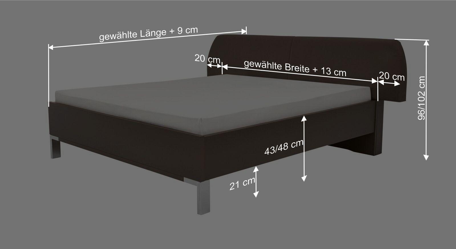Bemaßungsgrafik zum Interliving Bett 1006