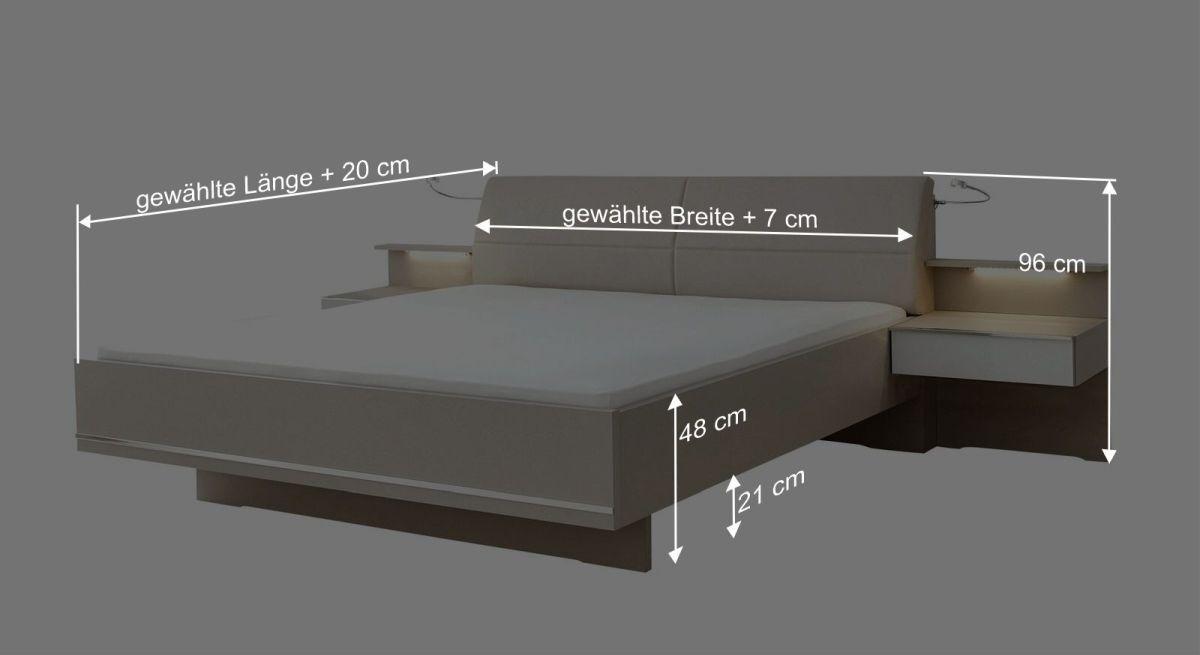 Bemaßungsgrafik Interliving Bett 1009 Schwebeoptik