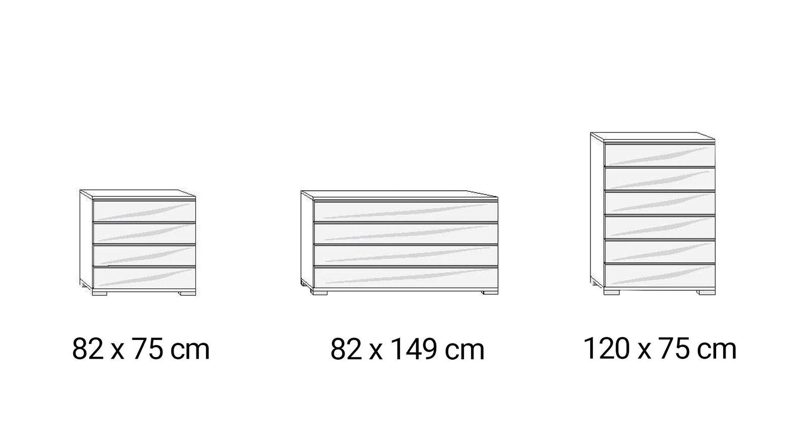 Grafik zu den Ausführungen der INTERLIVING Schubladen-Kommode 1009