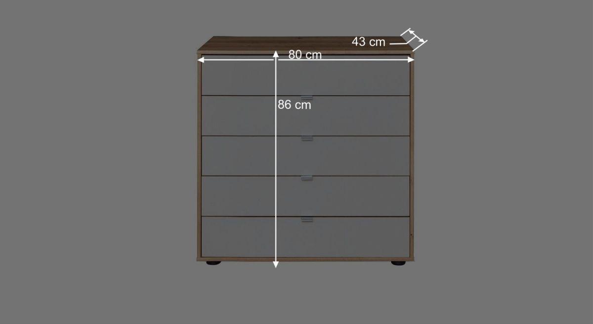 Bemaßungsgrafik zur Interliving Schublade Kommode 1017