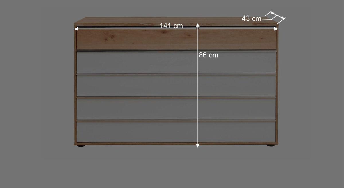 Bemaßungsgrafik Interliving Schubladen Kommode 1202 140 cm breit