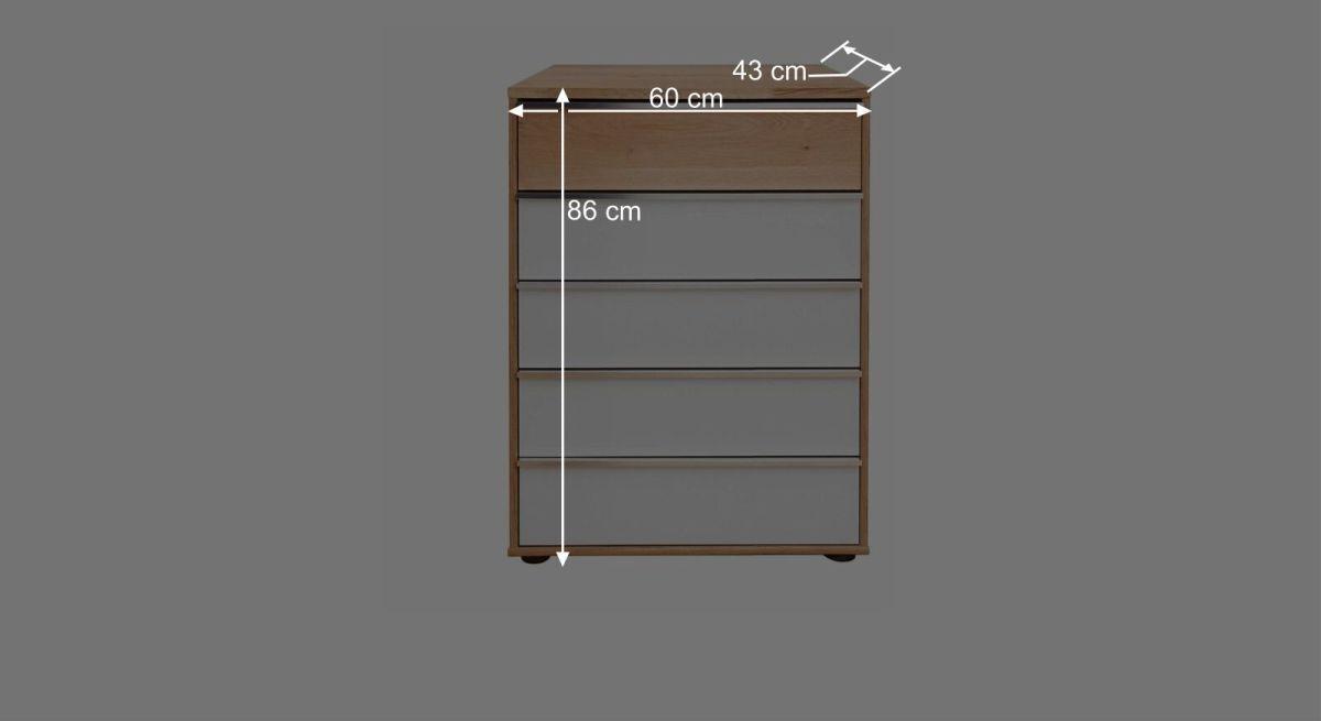 Bemaßungsgrafik Interliving Schubladen Kommode 1202 60 cm breit