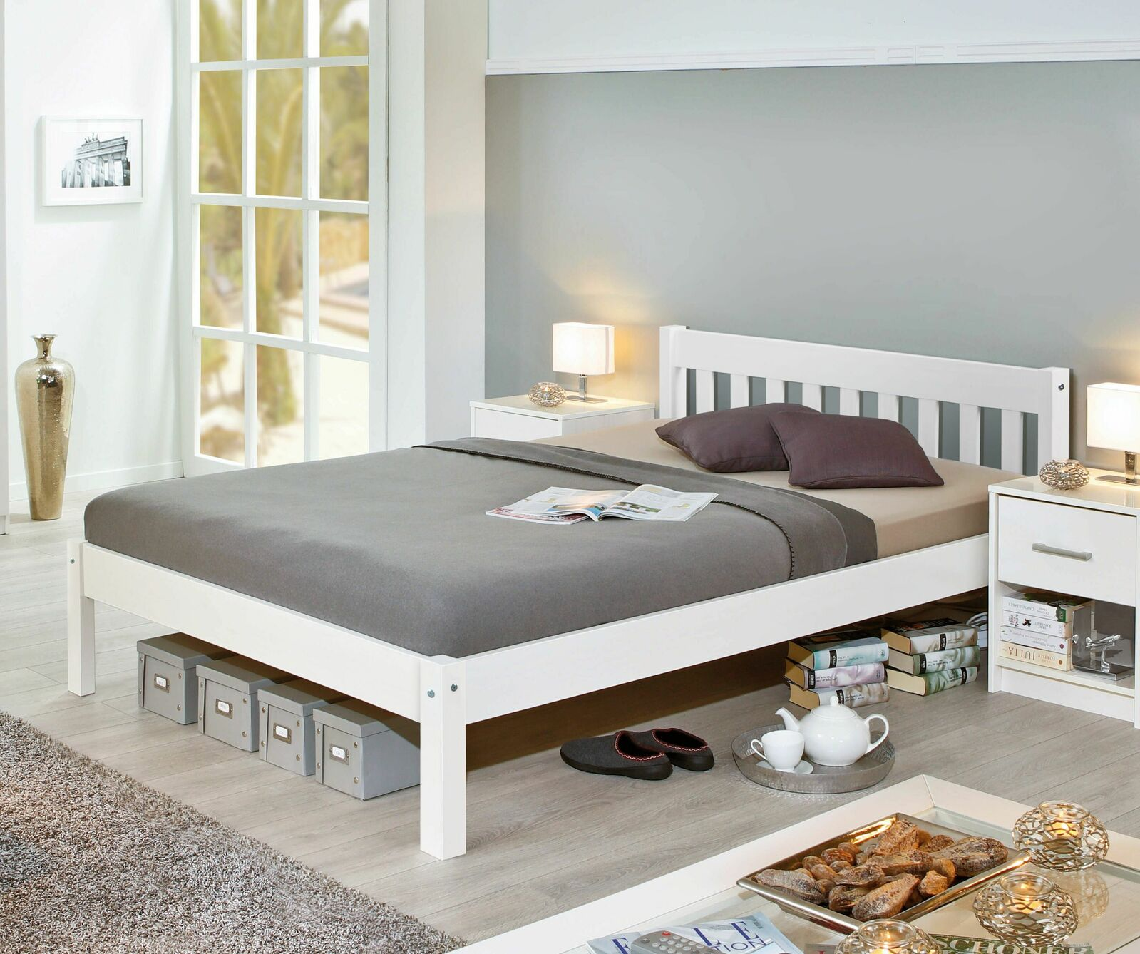 preiswertes bett aus wei er kiefer z b in 140x200 cm genf. Black Bedroom Furniture Sets. Home Design Ideas