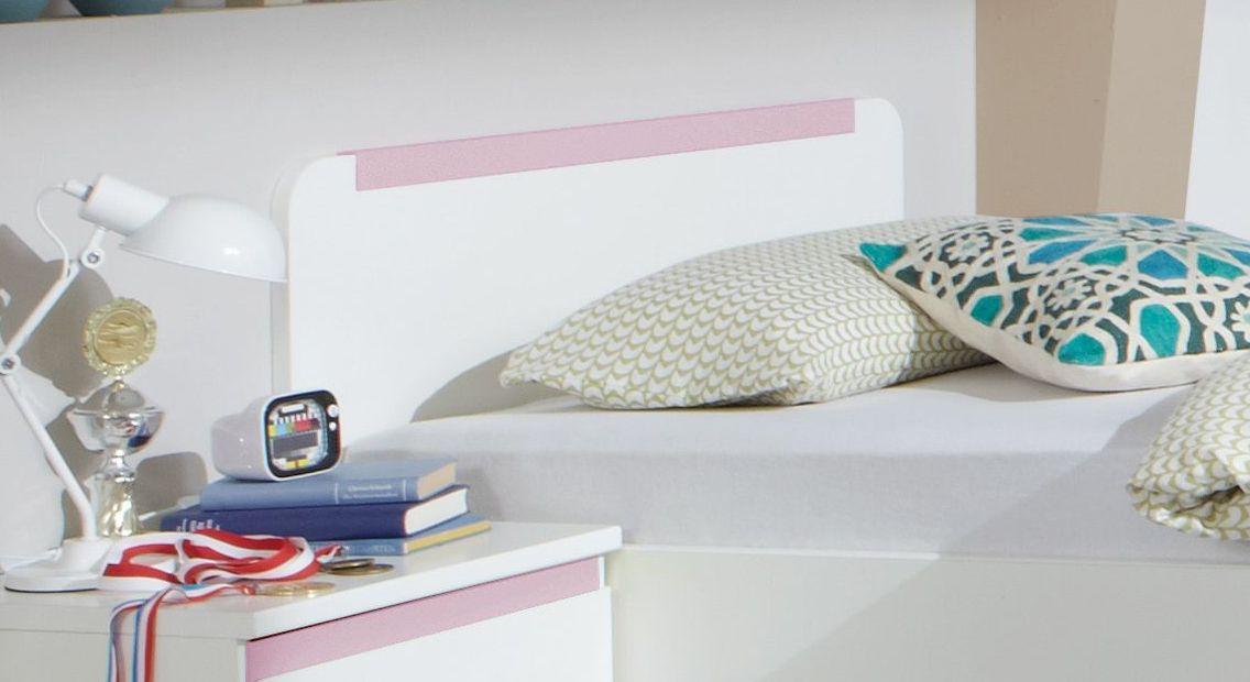 Jugendbett Armillas Kopfteil mit rosafarbener Zierleiste