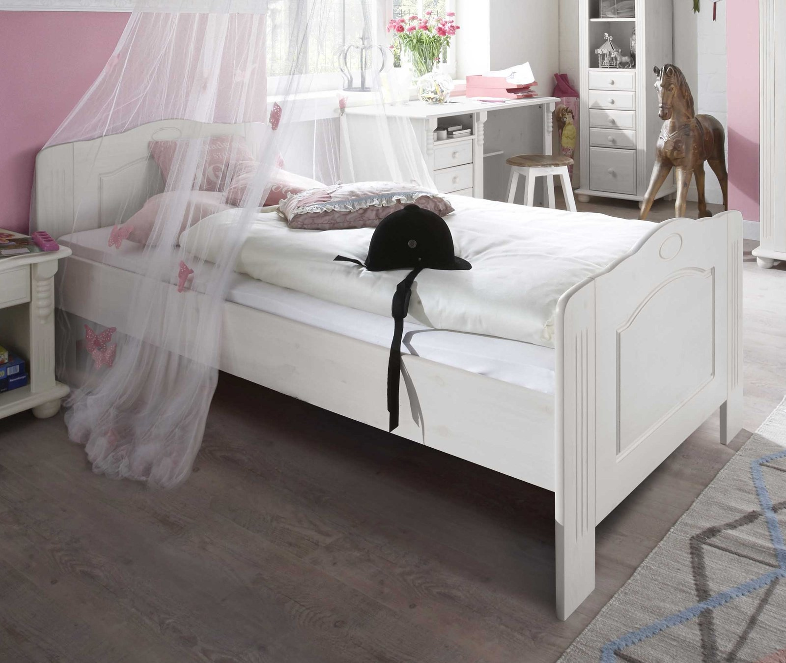 jugendbett im landhausstil 90x200 cm kiefer massiv countryside. Black Bedroom Furniture Sets. Home Design Ideas