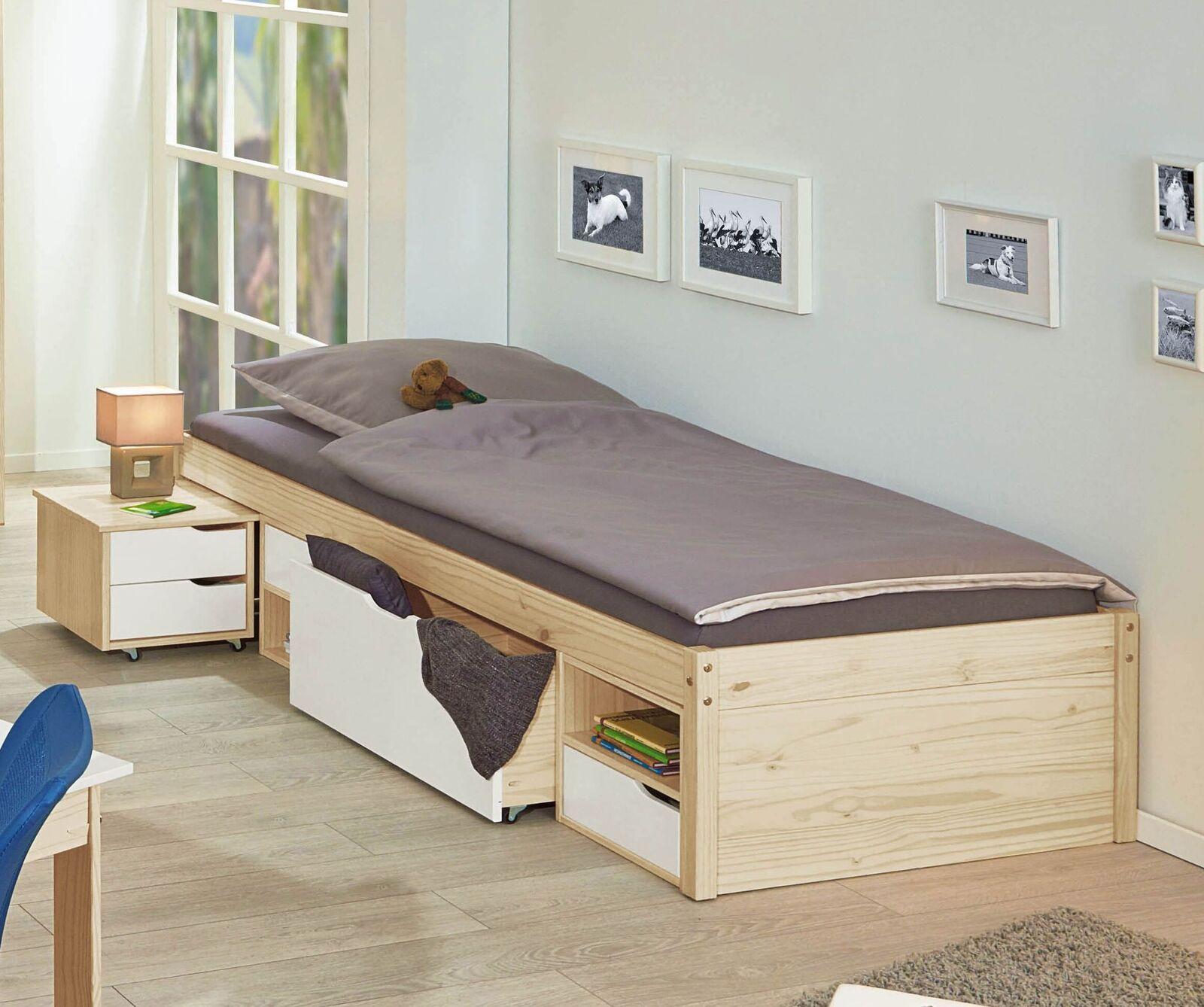 jugendbett mit schubkasten inklusive nachttisch aus kiefer erin. Black Bedroom Furniture Sets. Home Design Ideas