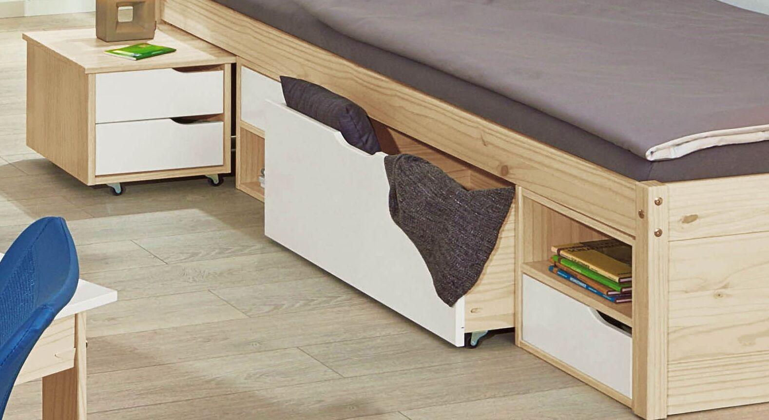 jugendbett mit schubkasten inklusive nachttisch aus kiefer. Black Bedroom Furniture Sets. Home Design Ideas