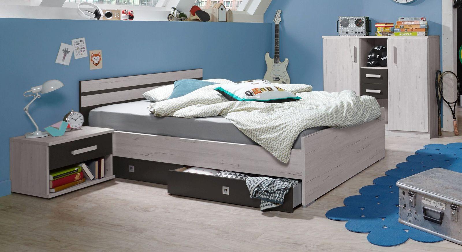 Modernes Jugendbett Mereto in Weißeiche Dekor