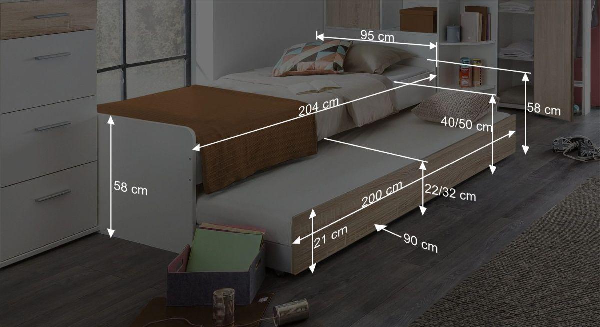Maßgrafik zum Jugendbett Solero mit Bettschublade