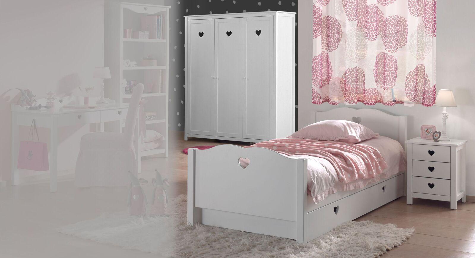 3-tlg Jugendzimmer Asami mit 3-türigem Kleiderschrank