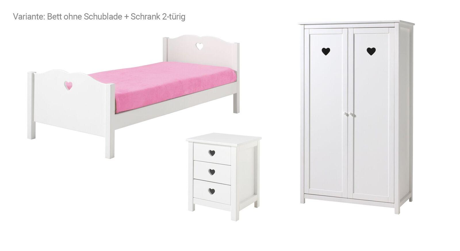 Jugendzimmer Asami Bett ohne Schublade und 2-türigem Schrank