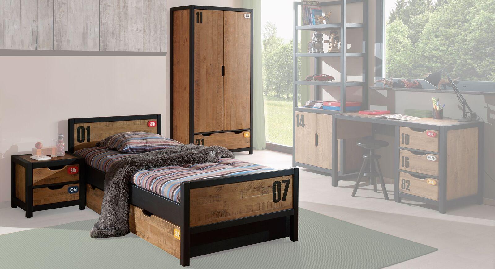 Jugendzimmer Beli mit zweitürigem Kleiderschrank