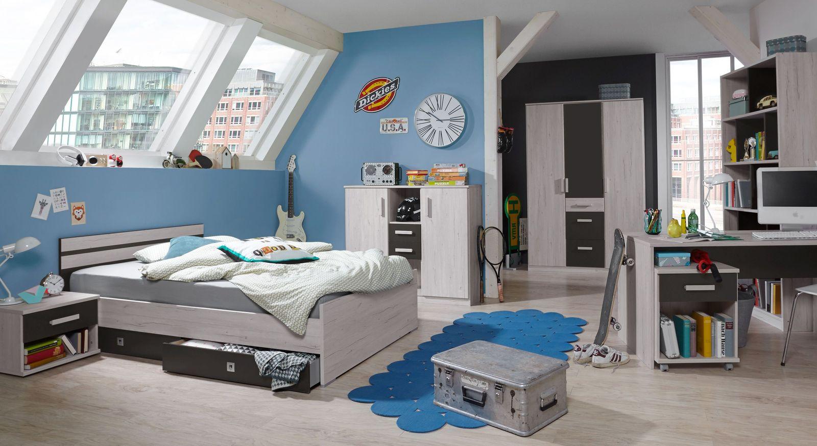 Jugendzimmer komplett als set wei eiche dekor und grau - Jugendzimmer grau ...