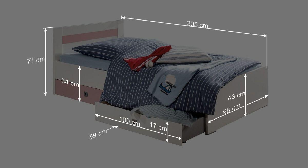 Bemaßungsgrafik zum Kinderbett Embala