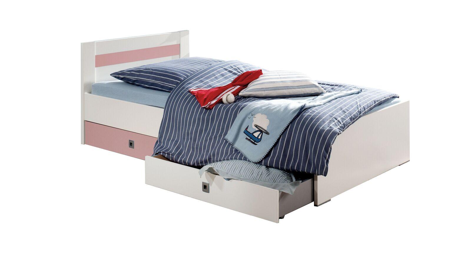 Kinderbett Embala mit zweifarbigen Schubkastenfronten