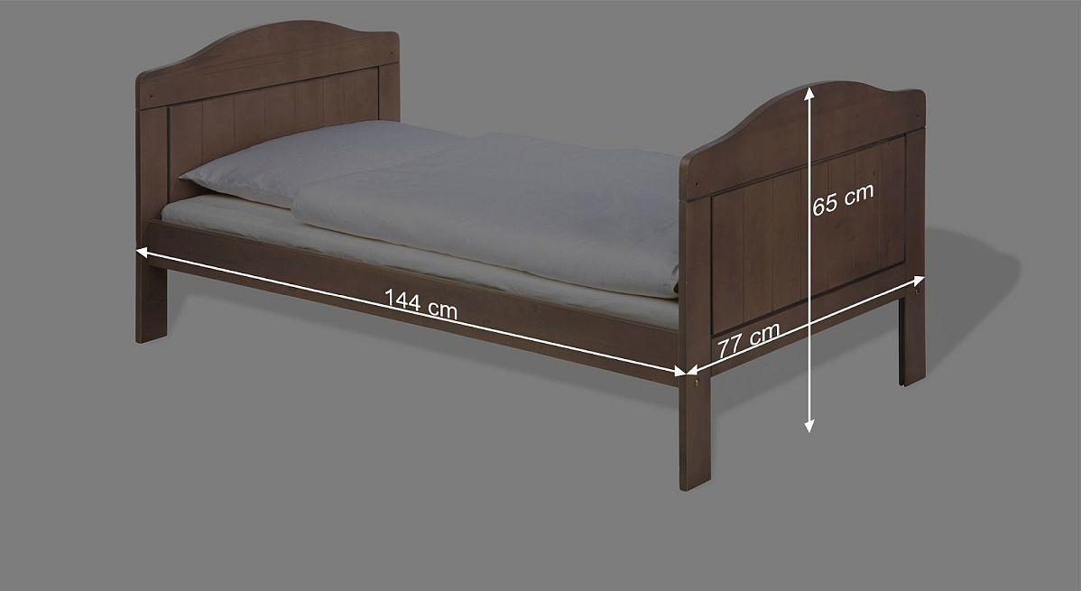 Bemaßungsskizze zum Kinderbett Jelka umgebaut zum Juniorbett