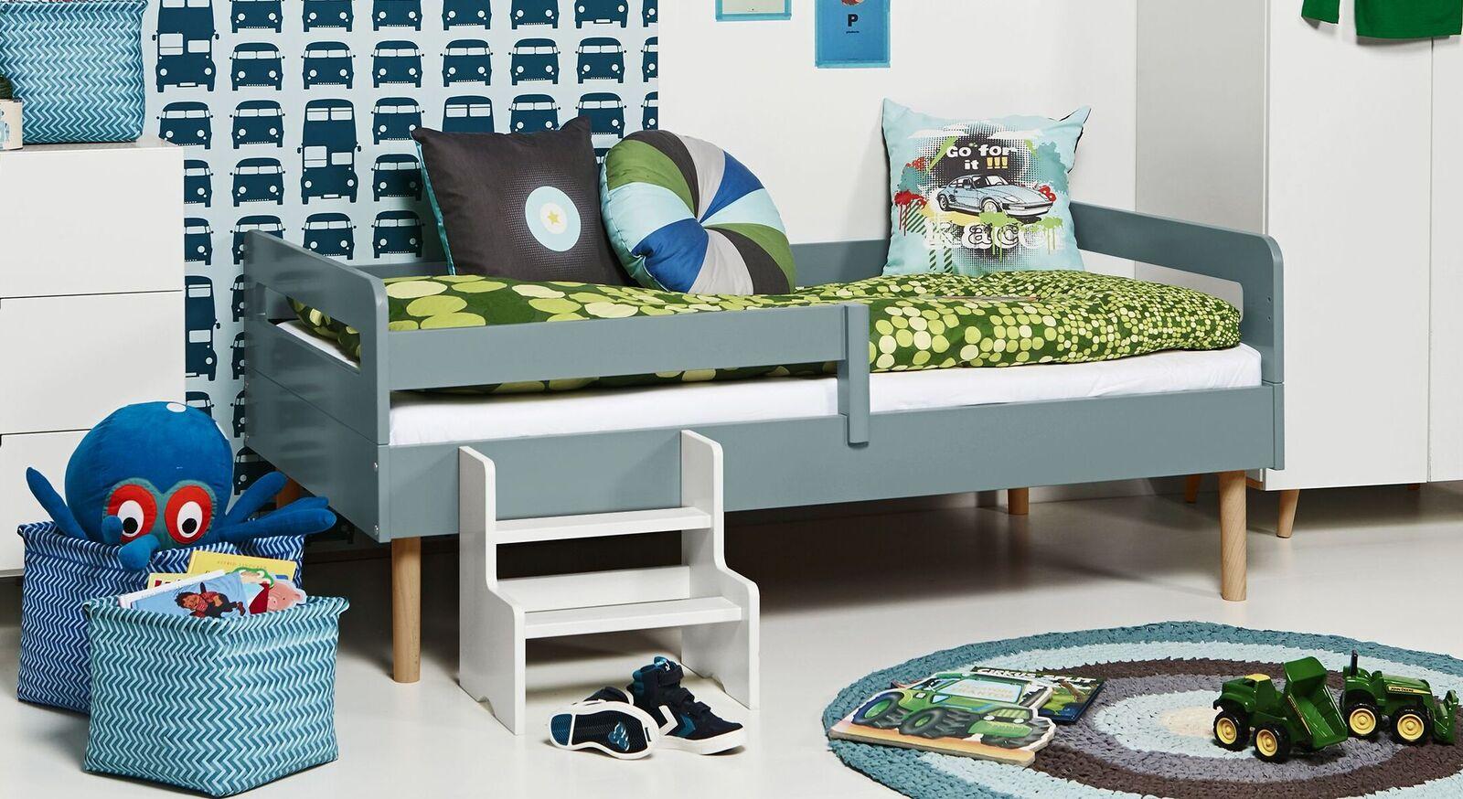 Modernes Kinderbett Kids Town Retro aus blaugrauem MDF