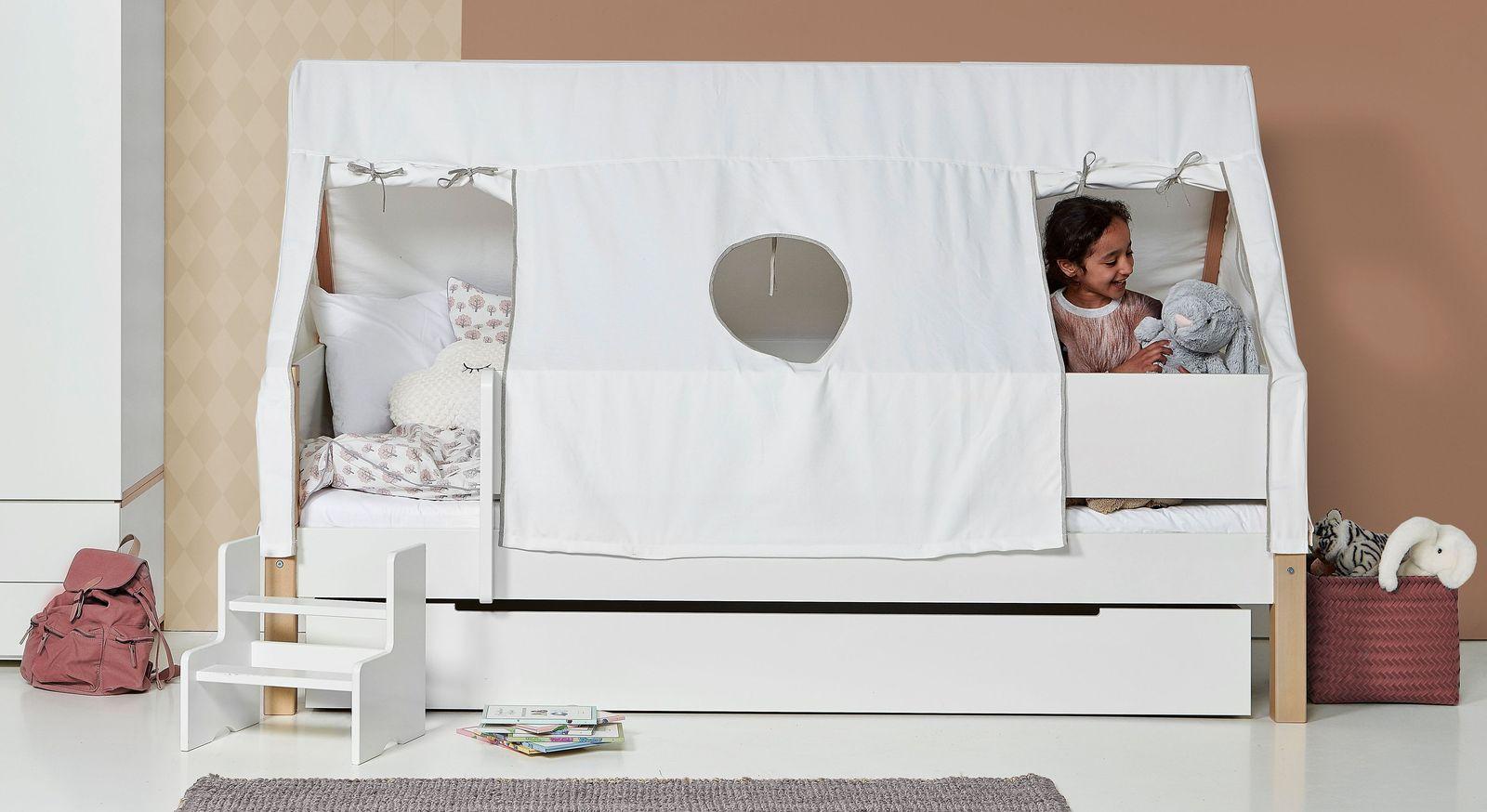 Kinderbett 90x200 Cm In Weiss Mit Zeltdach Kids Town Tipi