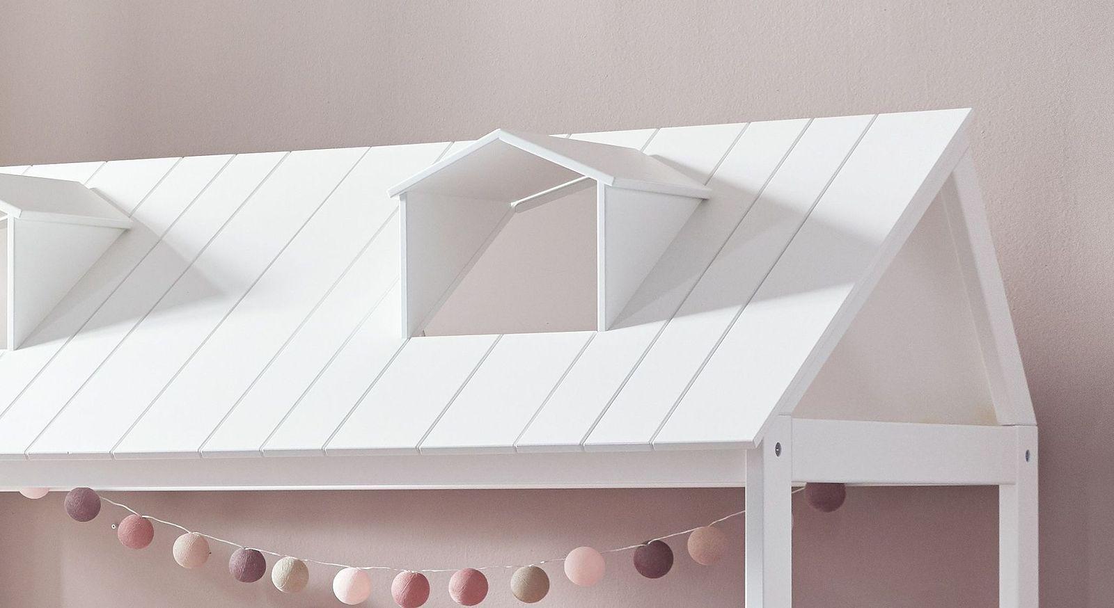 Kinderbett LIFETIME Ferienhaus mit Fenstern im Dachaufsatz