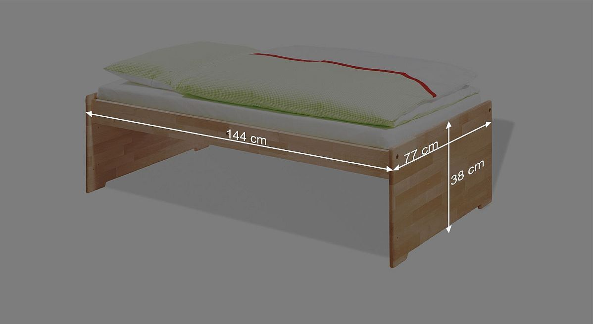 Bemaßungsskizze zum Kinderbett Natura umgebaut zum Juniorbett