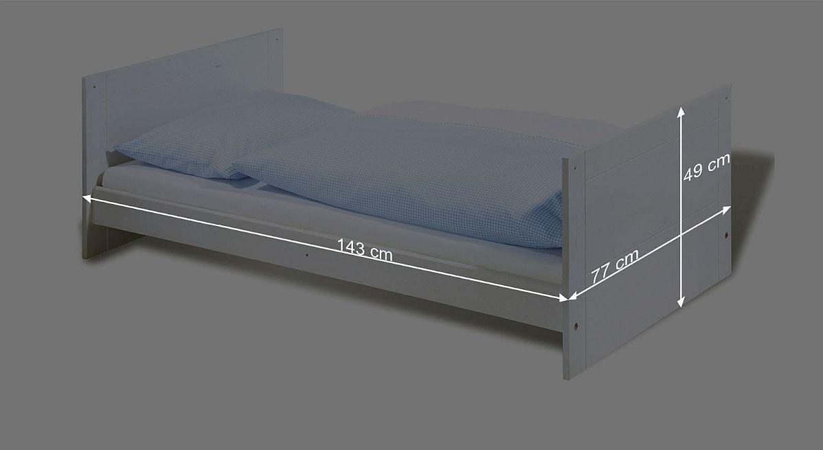 Bemaßungsskizze zum Kinderbett Puro umgebaut zum Juniorbett