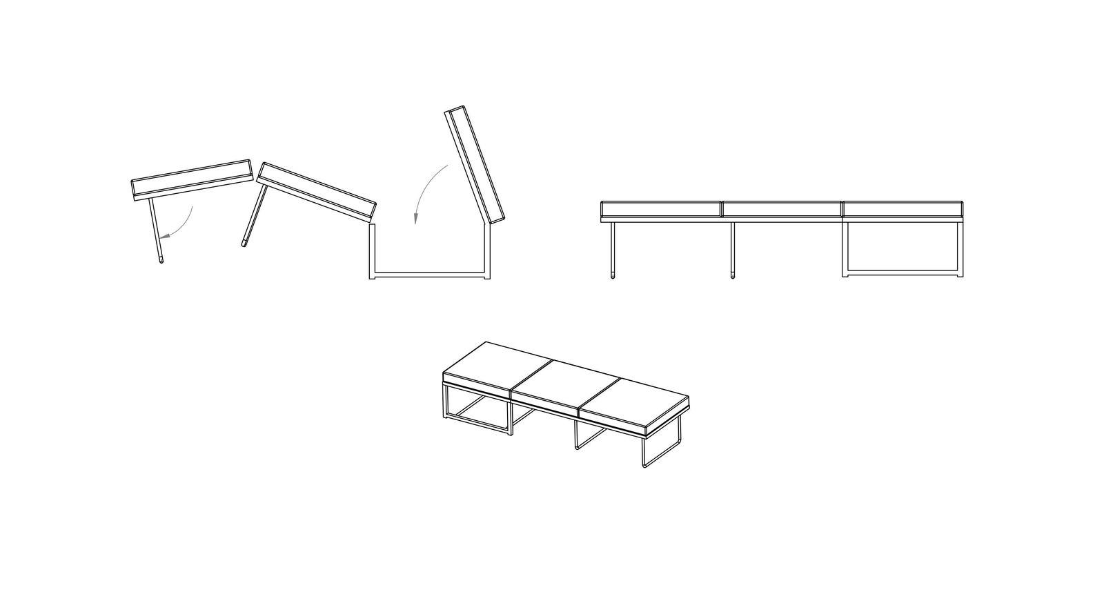 Grafik des Klappsofas Canino für den Umbau vom Hocker zum Gästebett