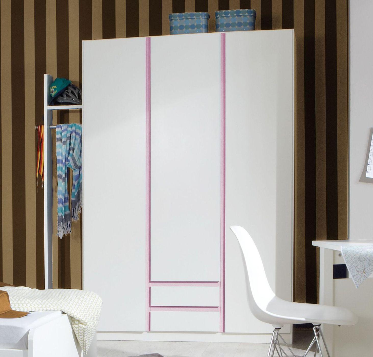 moderner m dchen kleiderschrank in wei und rosa armilla. Black Bedroom Furniture Sets. Home Design Ideas
