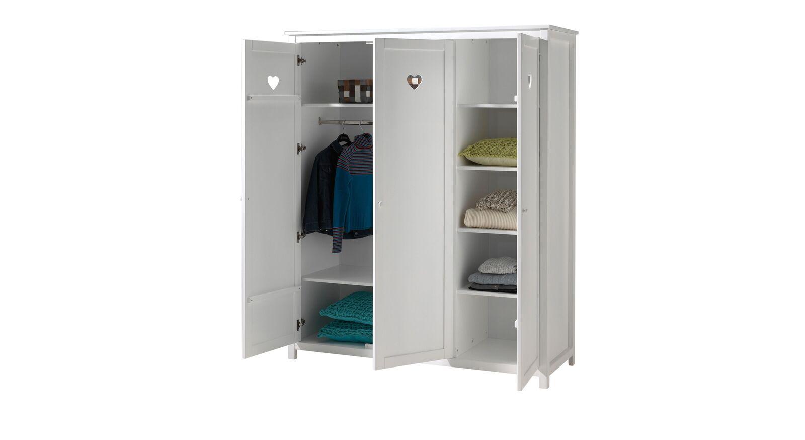 Kleiderschrank Asami mit 6 Einlegeböden und Kleiderstange