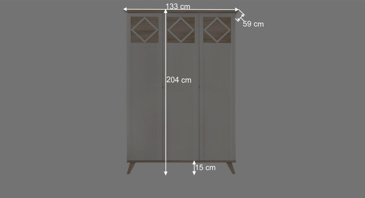Maßgrafik zum 3-türigen Kleiderschrank Atina