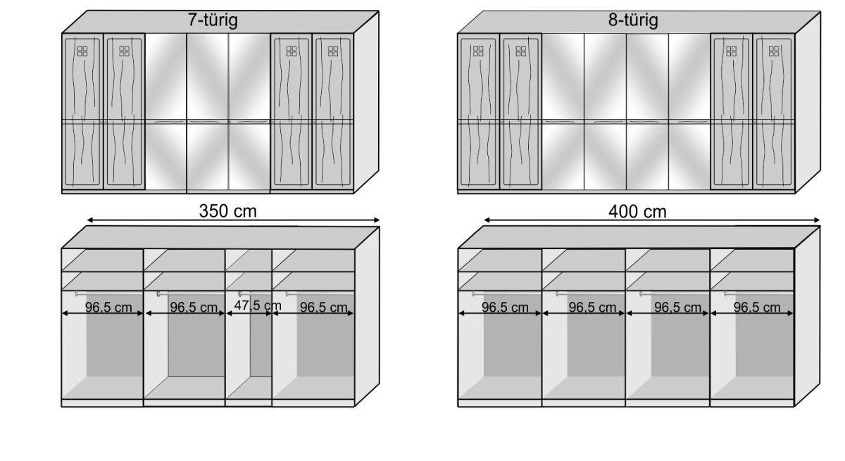 Grafik zur Innenausstattung des Kleiderschranks Bloomfield