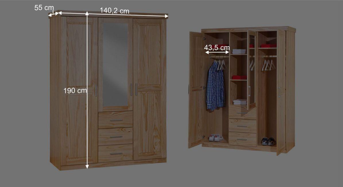 Informative Maßgrafik zum Kleiderschrank Bregenz