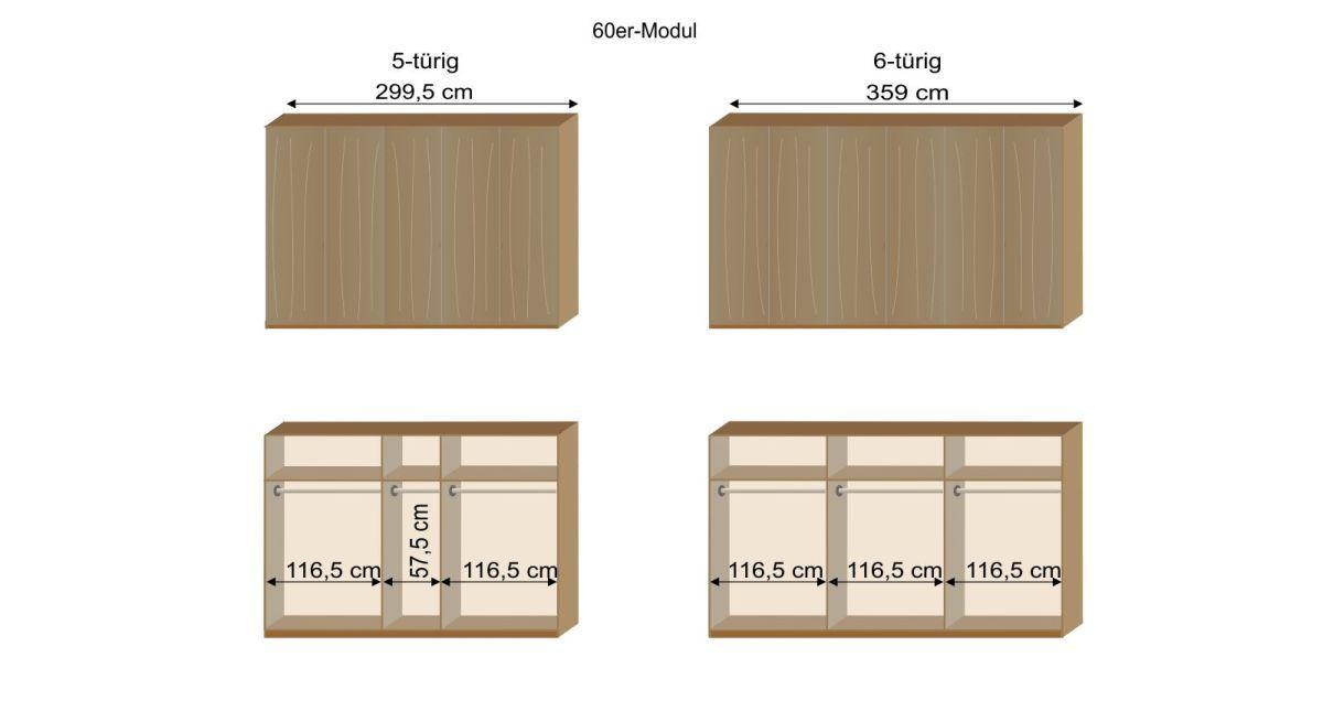 Grafik zur Inneneinteilung des 5- und 6-türigen Kleiderschranks Eichfeld mit 60er Modulen