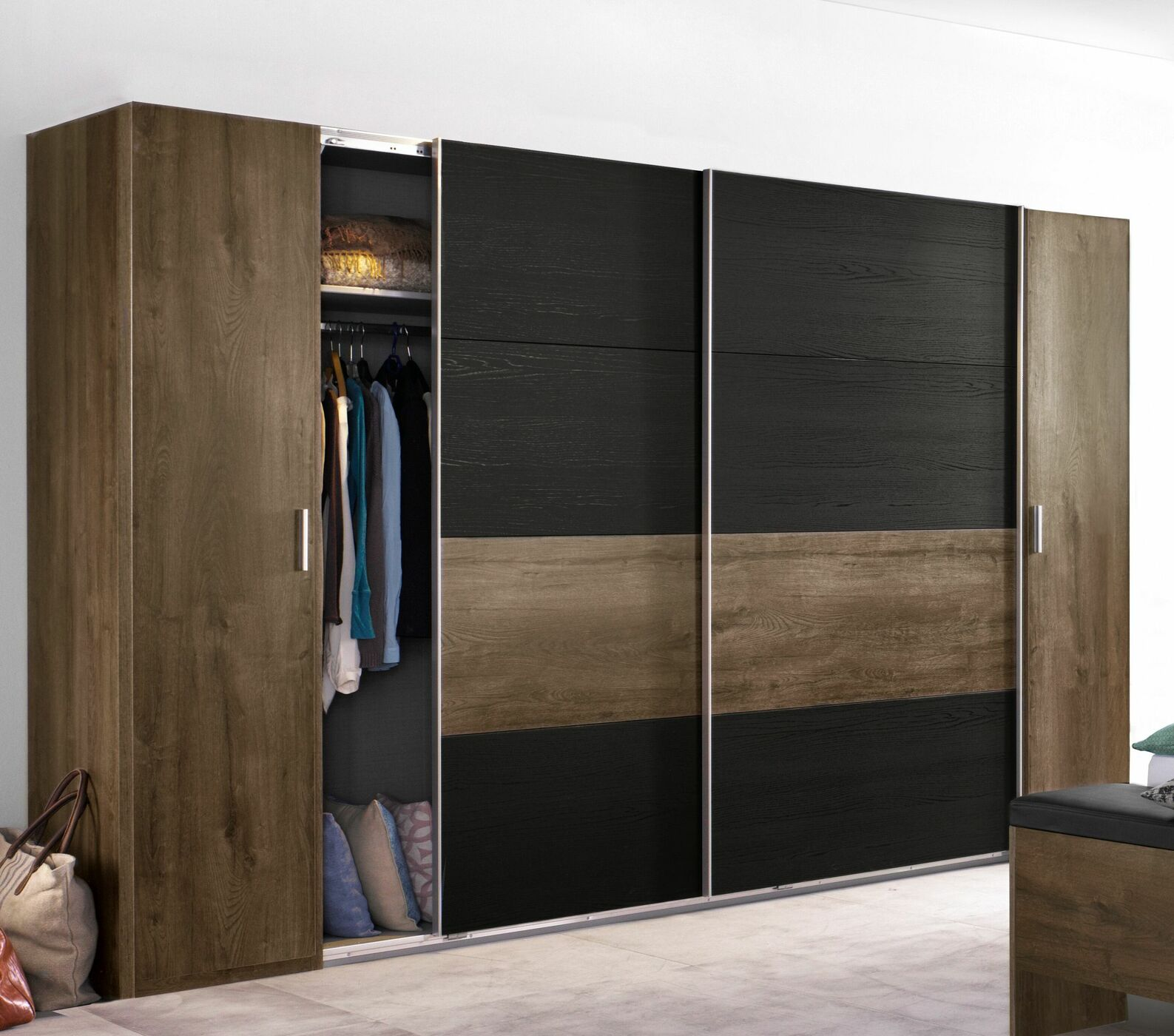kleiderschrank holzdekor mit dreh und schwebet ren gallinaro. Black Bedroom Furniture Sets. Home Design Ideas