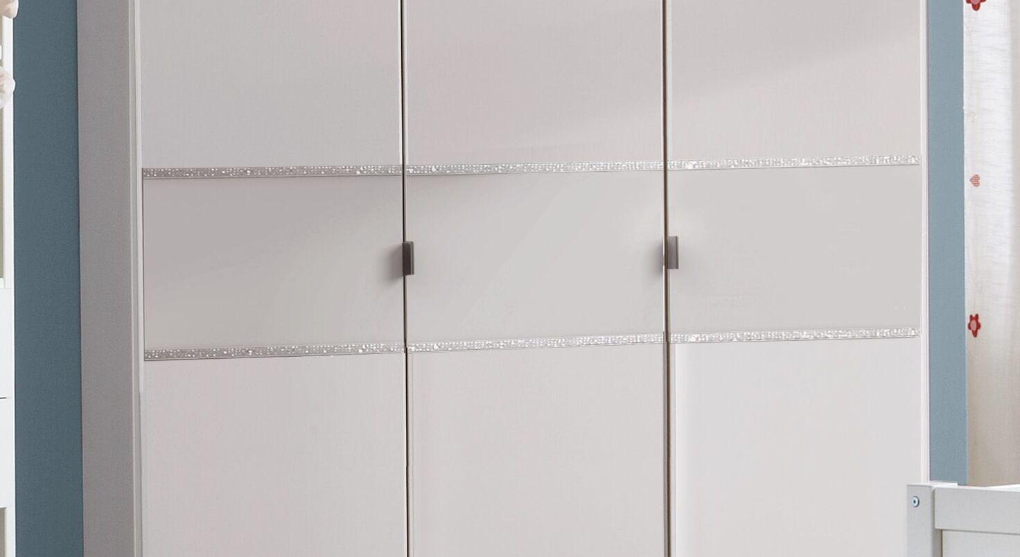 Kleiderschrank Lajanas Weißglas-Streifen