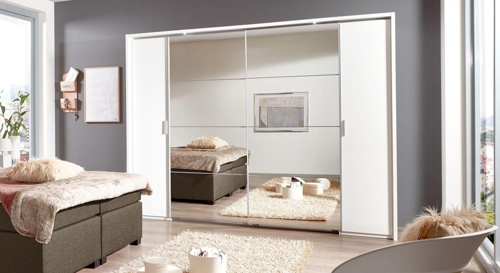 Weißer Spiegel-Kleiderschrank mit Schiebe- & Drehtüren - Maniago
