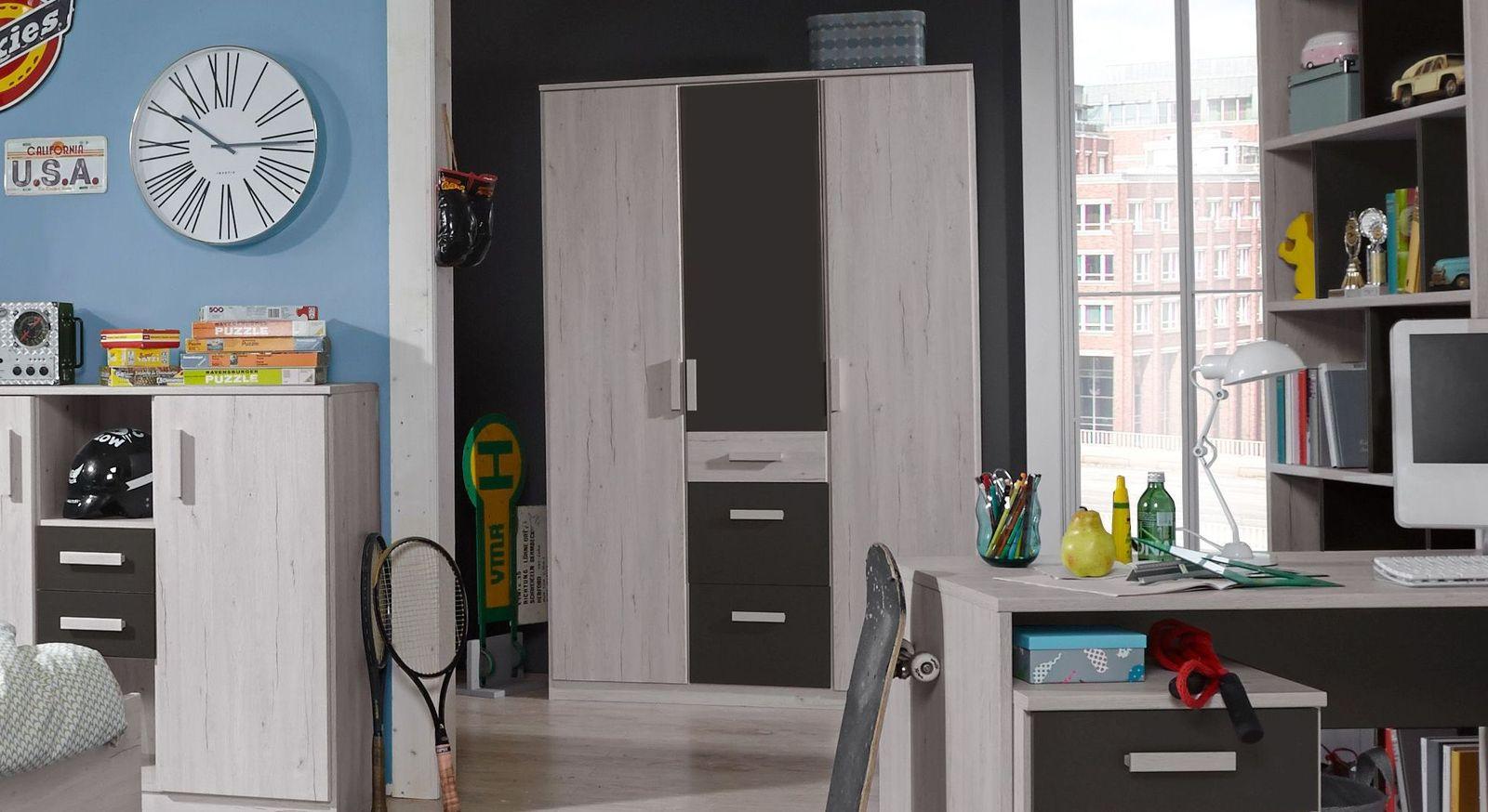 Kleiderschrank Mereto inklusive leichtgängiger Schubladen